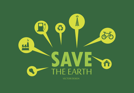 enviromental: eco design over  green background vector illustration