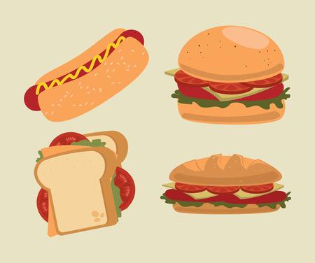 sandwish: fast food over beige   background vector illustration