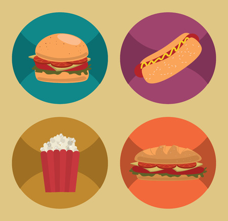 fast food over beige   background vector illustration Vector