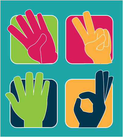 hands gesture over  blue background vector illustration Vector