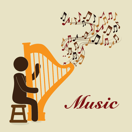 interpreter: musical design over beige  background vector illustration