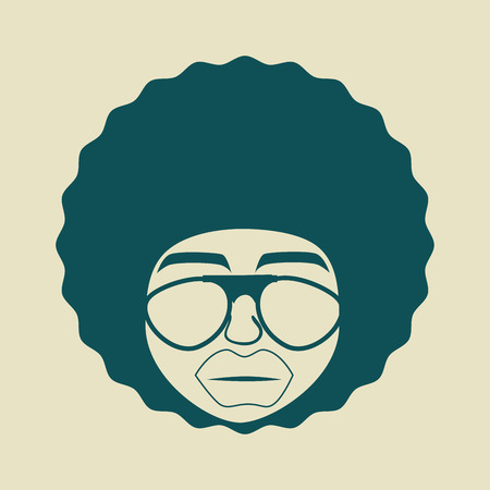 afro hair: afro style design over beige background vector illustration