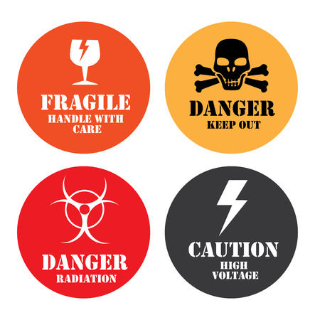 signaling: caution signals over white background vector illustration