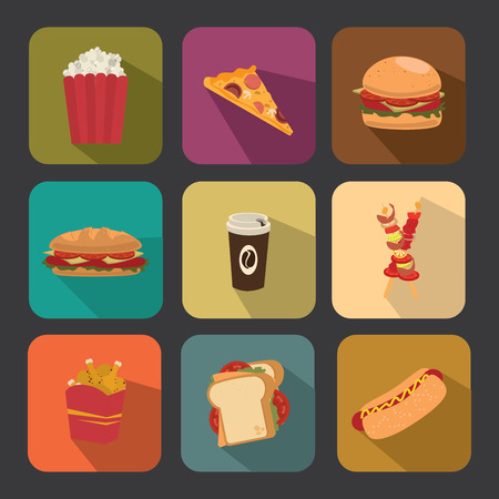 fast food over  gray  background vector illustration  Vector