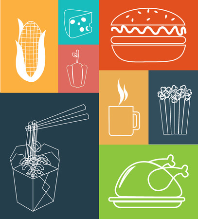 fast food over  colors   background vector illustration Vector