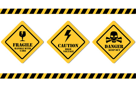 caution signals over white background vector illustration  Vector