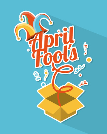 idiot box: april fools day over blue vector illustration