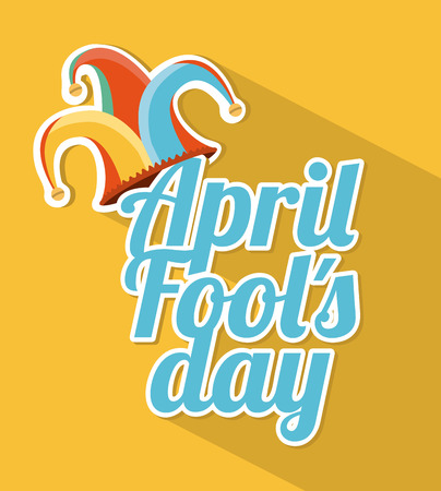 april fools day over yellow background vector illustration Vector