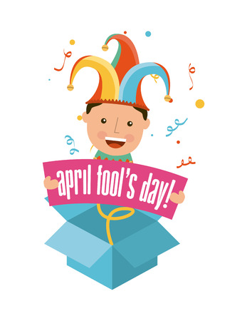 idiot box: april fools day over white background vector illustration Illustration