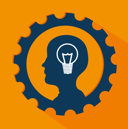 consept: gears design over orange background vector illustration