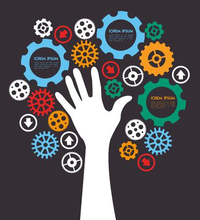 gearshift: gears design over black background vector illustration