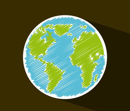 globe terrestre dessin: conception de terre sur fond brun illustration vectorielle