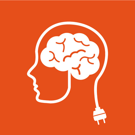 brain icon: think design over orange background vector illustration