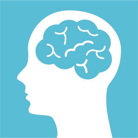 cabeza: pensar en el diseño sobre fondo azul ilustración vectorial Vectores