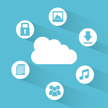 new technology: cloud computing over  blue background vector illustration