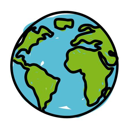 globe terrestre dessin: conception de la terre sur fond blanc illustration vectorielle