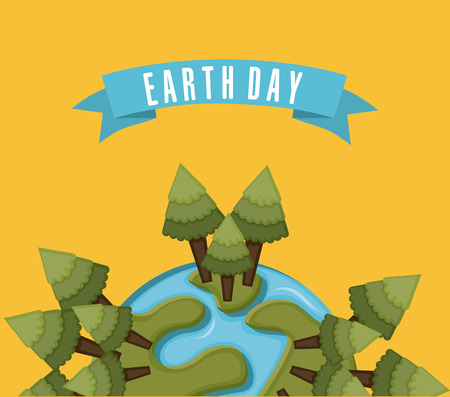 simplified: earth design over orange background vector illustration