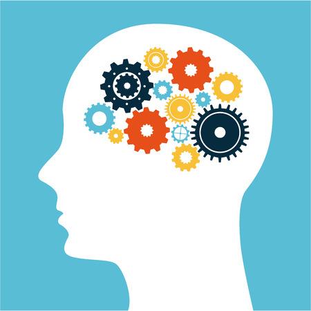 pensamiento creativo: pensar en el diseño sobre fondo azul ilustración vectorial Vectores