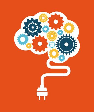 mental object: think design over orange background vector illustration