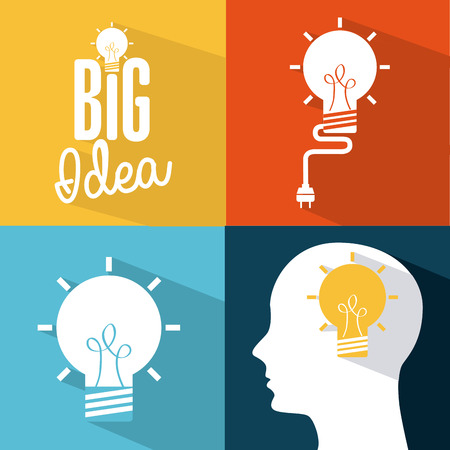 conceptual bulb: think design over colors background vector illustration