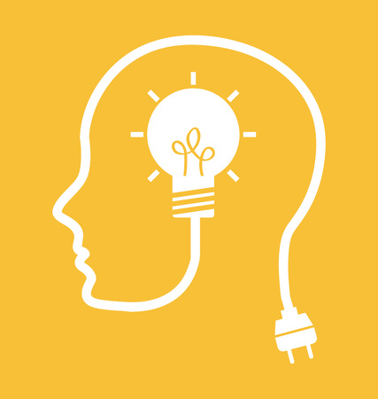 黄色の背景のベクトル図のデザインを考える 写真素材 - 25955393