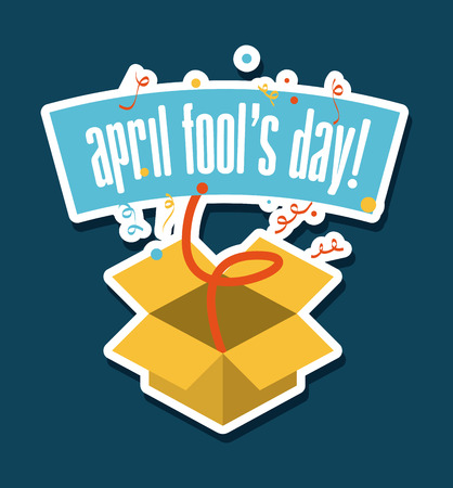 idiot box: april fools day over blue  background vector illustration