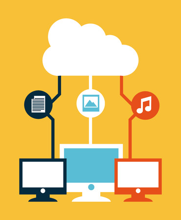 surf team: cloud computing sobre fondo crema ilustraci�n vectorial
