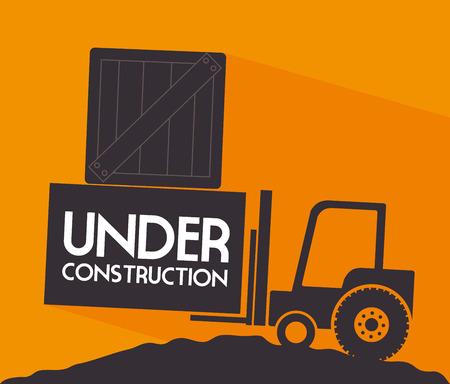 reconstruction: under construction over orange background vector illustration