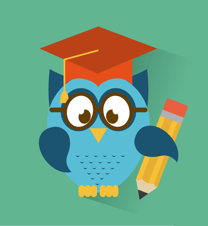 owl design over blue  background  Vector