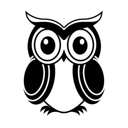 動物: 貓頭鷹的設計在白色背景的矢量插圖