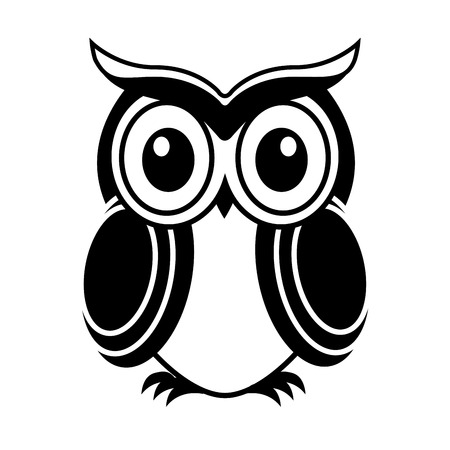 owlet: dise�o del b�ho sobre fondo blanco ilustraci�n vectorial