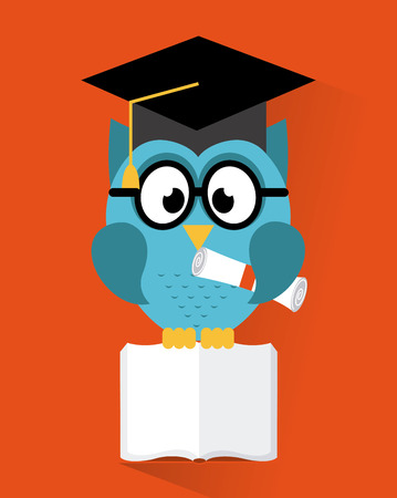 owl design over  orange background Vector