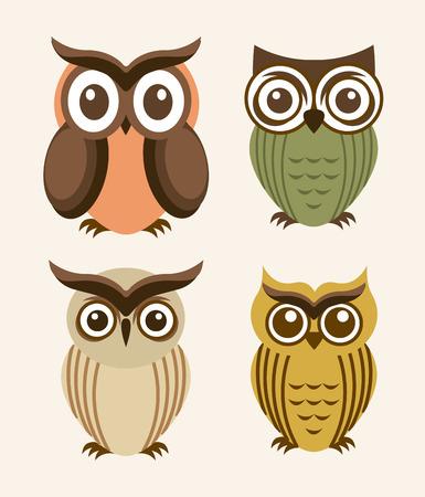 owl design over  white background  Vector