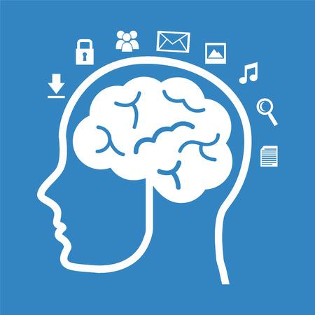 cerebro: pensar en el diseño sobre fondo azul Vectores