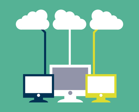 green computing: cloud computing over  green  background