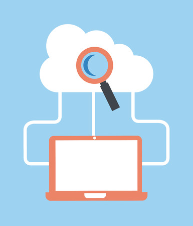 cloud computing over  blue  background  Vector