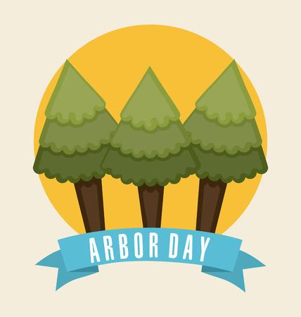 arbor: arbor day over white  background  Illustration