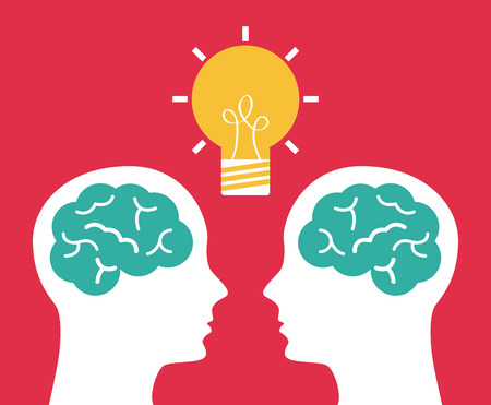 thinking brain: think design over pink background  Illustration