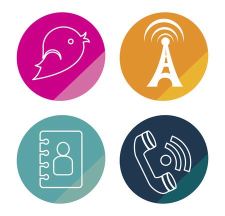 antena: social network  over white background vector illustration