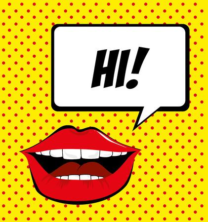 pop art   over  yellow  background vector illustration Vector