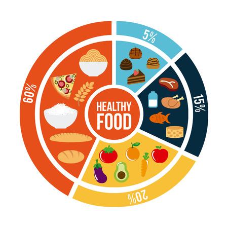 vida saludable: comida sana sobre fondo blanco Ilustración