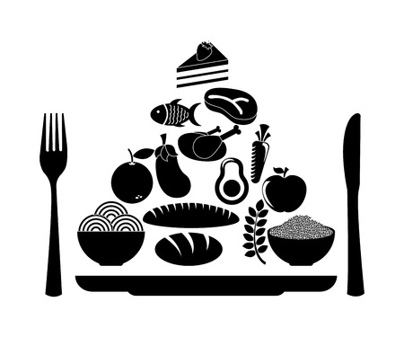 fresh food fish cake: healthy food over white background illustration
