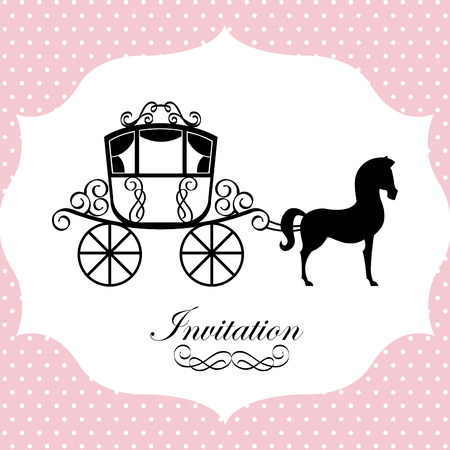 horse carriage design over dotted background illustration Vector