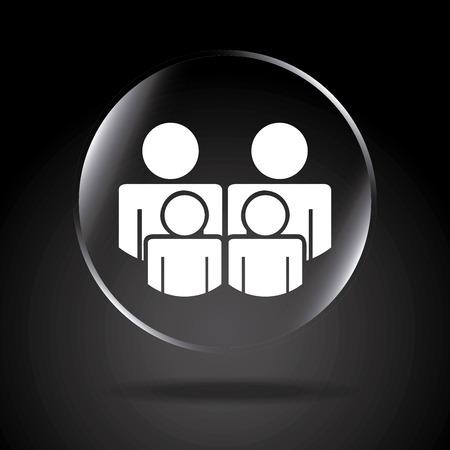 black family: Family insurance design over black background illustration  Illustration