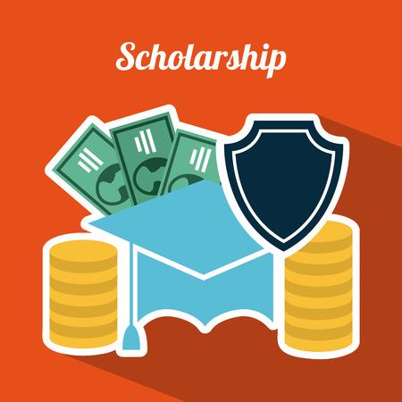 Scholarship design over orange background Vector