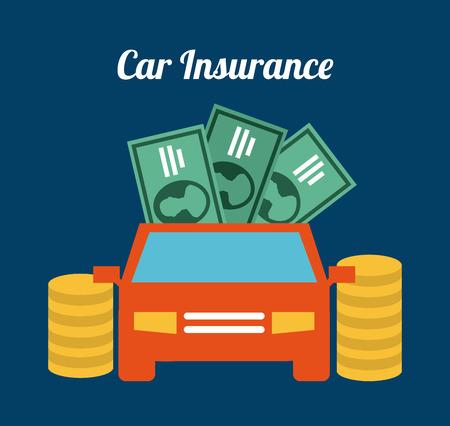 seguros autos: Dise�o de un seguro de coche sobre fondo azul ilustraci�n Vectores