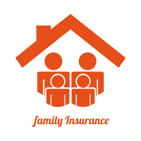 family policy: Family insurance design over white background illustration