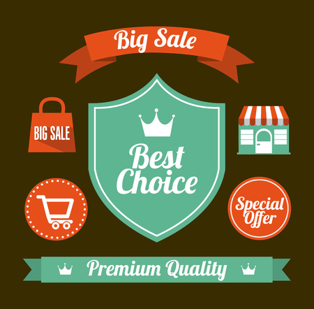 shopping labels design over brown  background illustration Vector