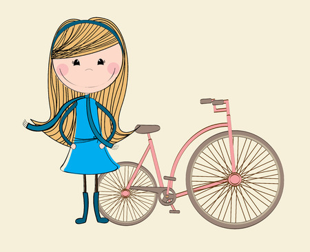 bike girl design over pink background vector illustration   Vector