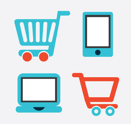 cons: e-commerce design over gray background vector illustration